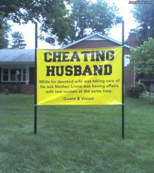cheating husband, funny signs