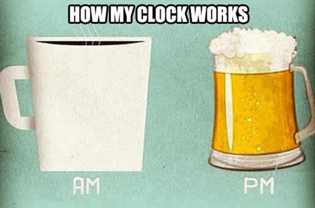 coffee in the morning and beer at night, my inner clock