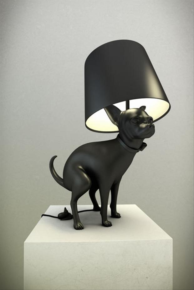 dog pooping, lamp, wtf products