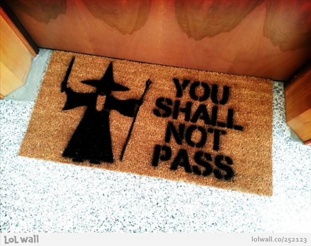 door mat, you shall not pass