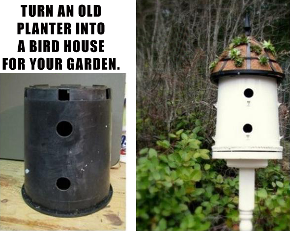 drill holes in an old flower pot and make a birdhouse