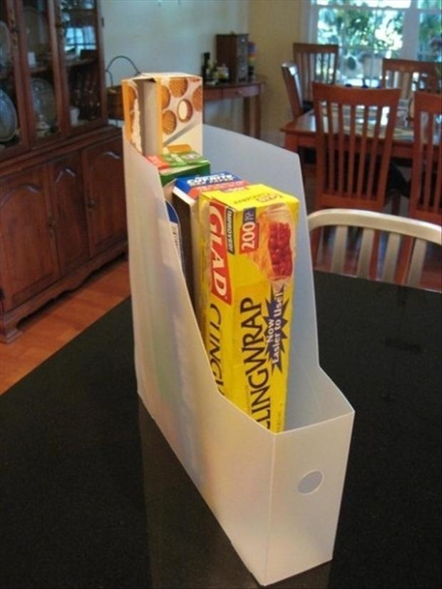 file folder to hold your kitchen wrap