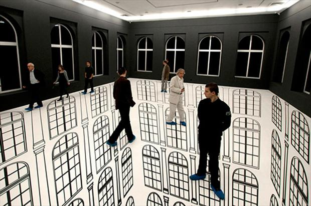 floor painting, optical illusion