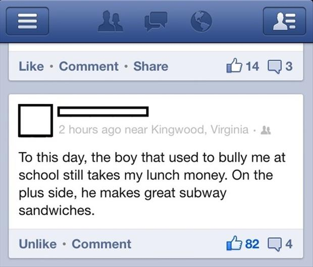 funny bully, lunch money, works at fast food place