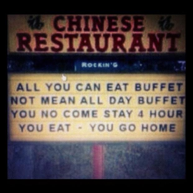 funny business signs, all day buffet