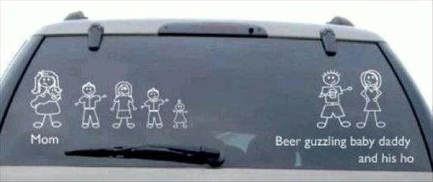 Funny Car Stickers Family