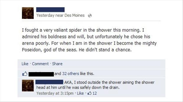 funny facebook quotes, spider in the shower