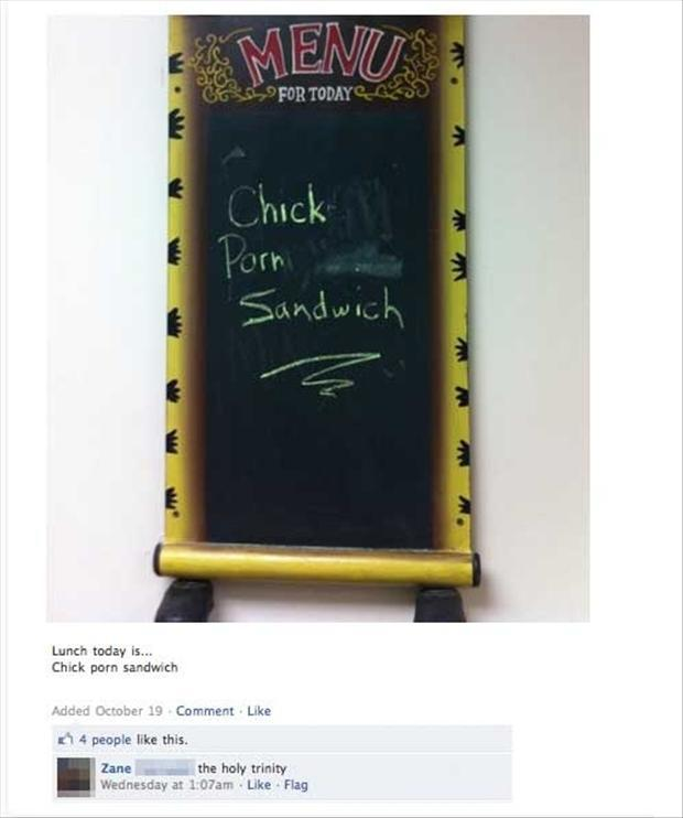 funny facebook, signs, chicks, sandwhich