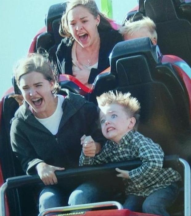 funny faces on a roller coaster