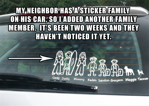 Funny family stick figures stickers on your car