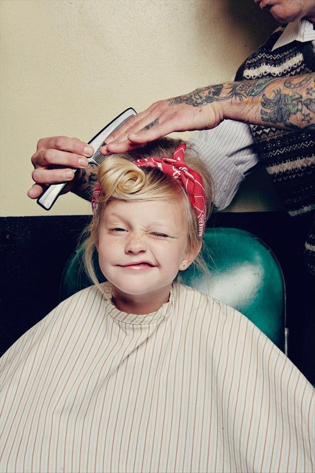 funny kids getting a haircut