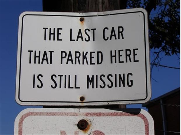 funny no parking signs