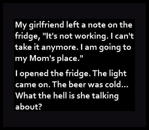 funny note from girlfriend, cold beer
