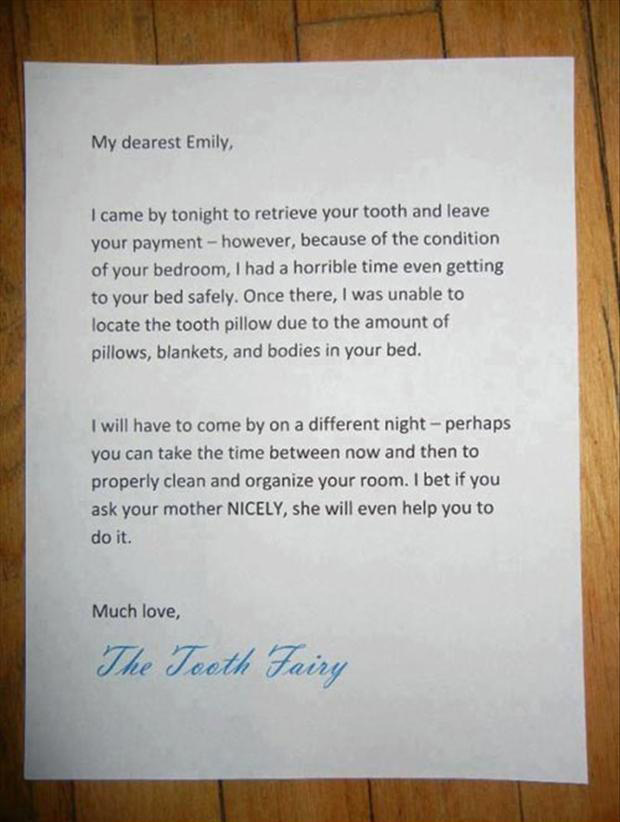 funny notes, tooth fairy
