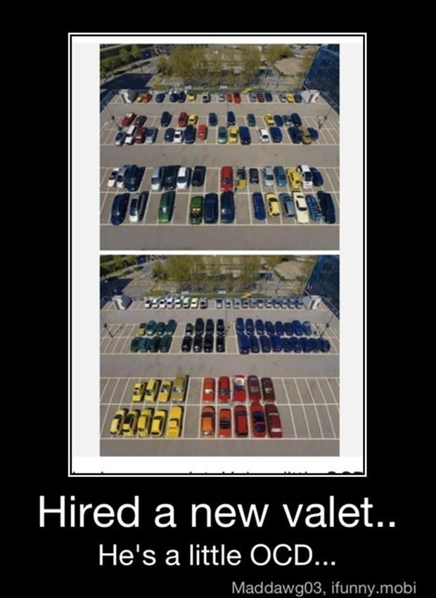 funny ocd pictures, parking cars