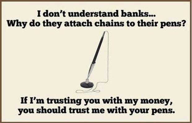 funny pictures, bank chains on pens