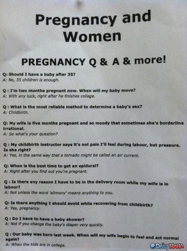 funny pregnancy questions and answers