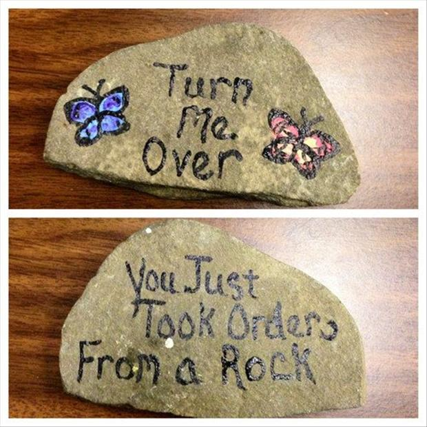 funny rock, painted