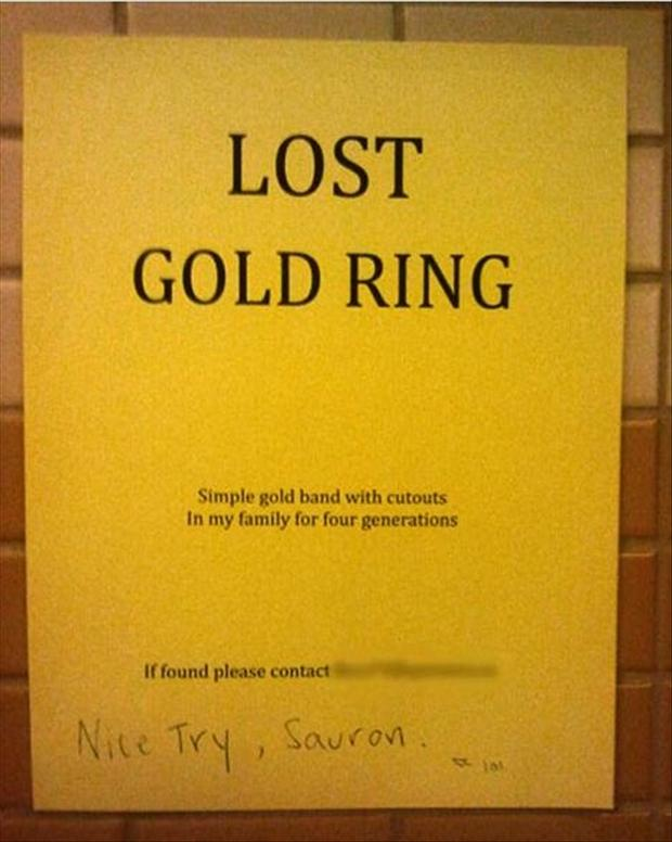 funny signs, lost gold ring