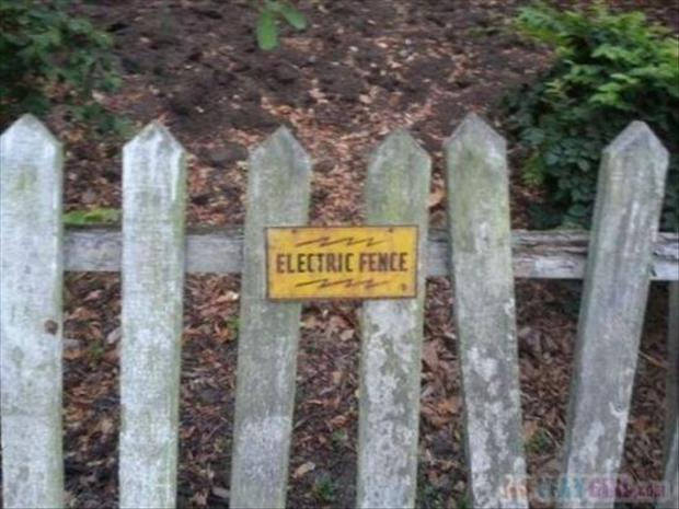 funny signs on fence