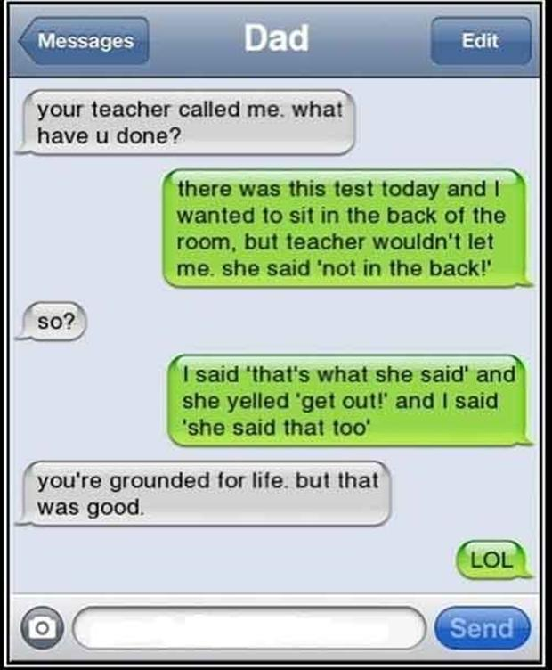 funny thats what she said text message from son