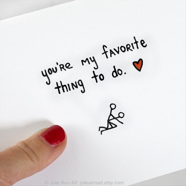 funny valentines day cards, you are my favorite thing to do