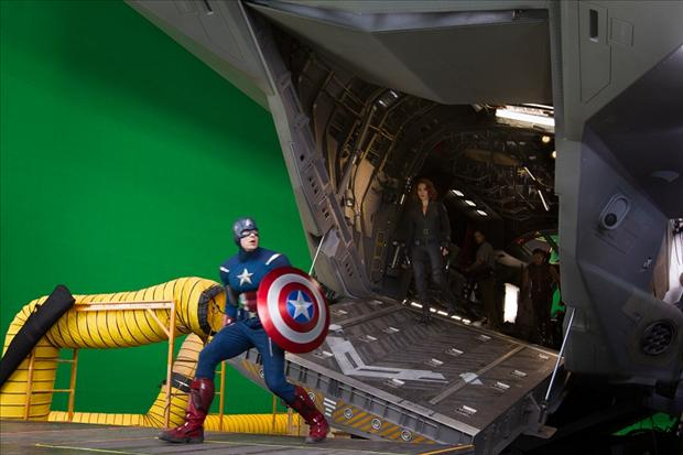 green screen, making the avengers