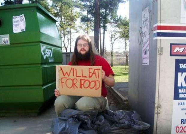 homeless man sign, seems legit