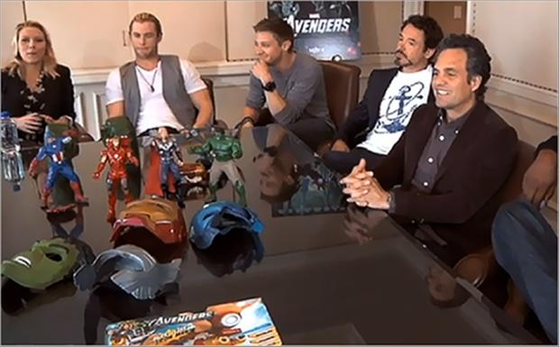 interviewing the cast members of the avengers
