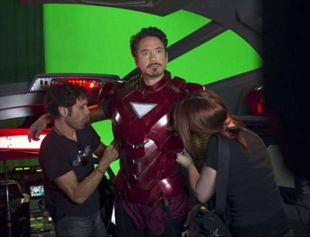 iron man suit up, behind the scenes of the avengers movie