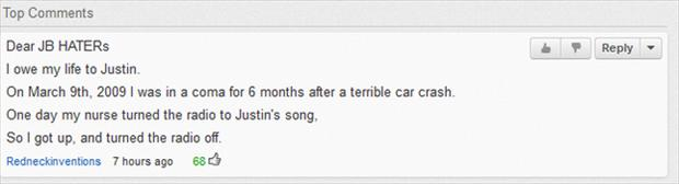 justin beiber haters, funny youtube comments