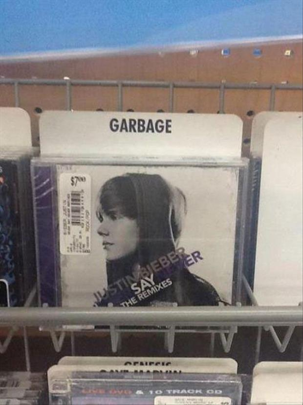 justin bieber, funny pictures, garbage