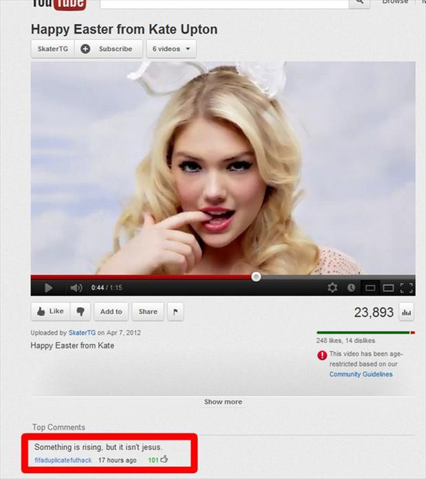 kate upton, funny youtube comments