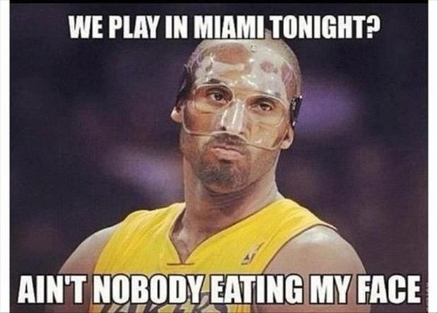 kobe bryant, face mask, funny pictures