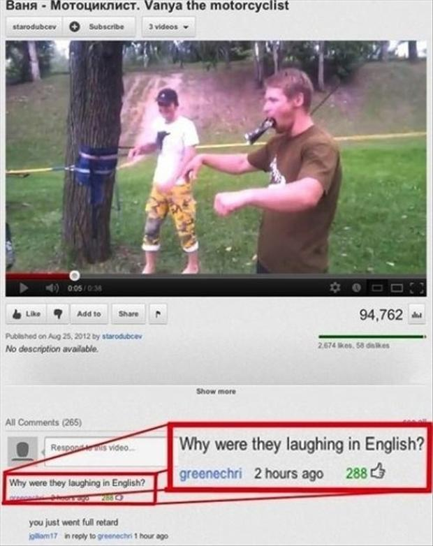 laughing in english, funny youtube comments