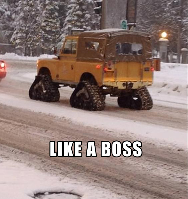 like a boss, driving in the snow