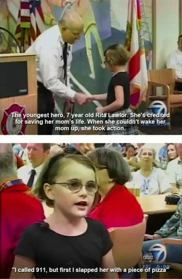 little girl saves her mom's life, funny pictures