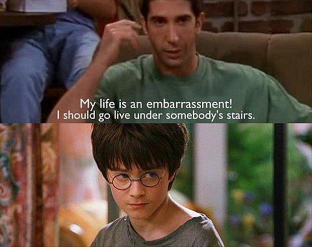 live under the stairs, funny harry potter