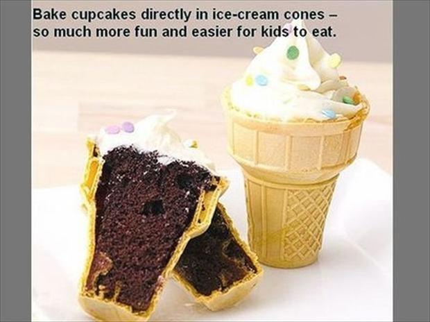 make cupcakes in ice cream cones
