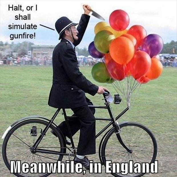 meanwhile in england, balloon popping