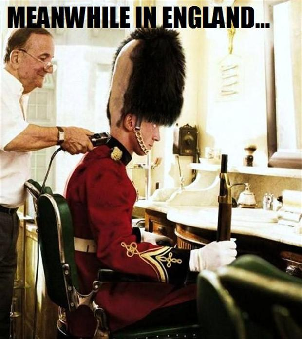 meanwhile in england, guard hair cut