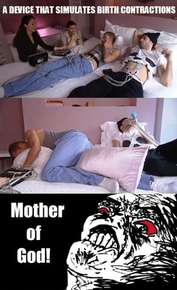 men experience birth contractions, funny pictures