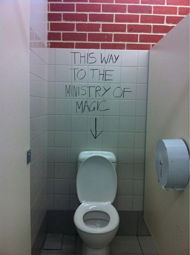 ministry of magic, funny bathroom signs