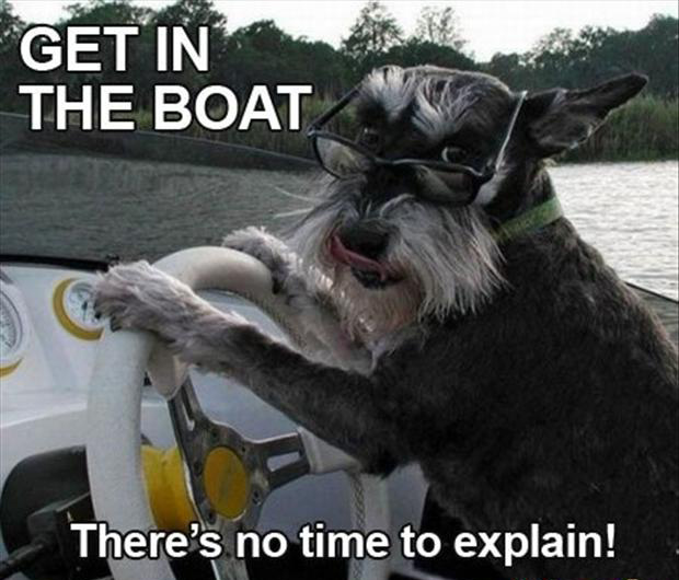 no time to explain, get in the boat