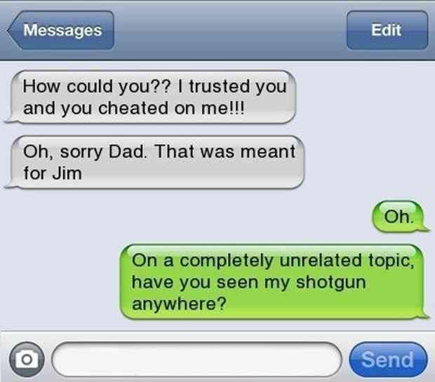 parenting done right, a funny text from daughter to father, father of the year