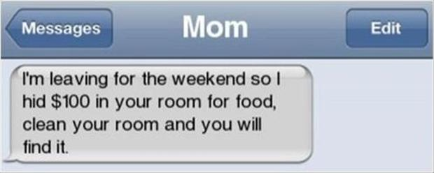 parenting done right, funny texts from mom