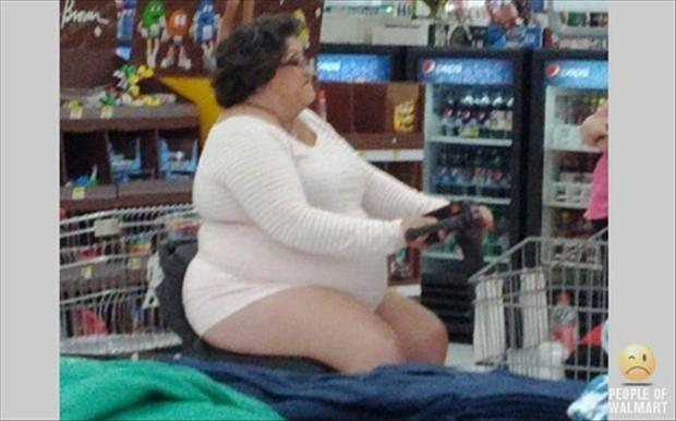 people of wal mart, lady in one piece swim suit on skooter