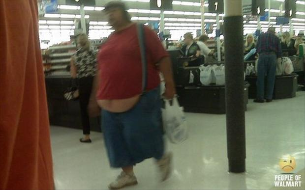 people of wal mart, really fat guy walking