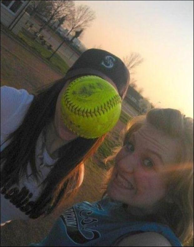 perfectly timed pictures, softball players