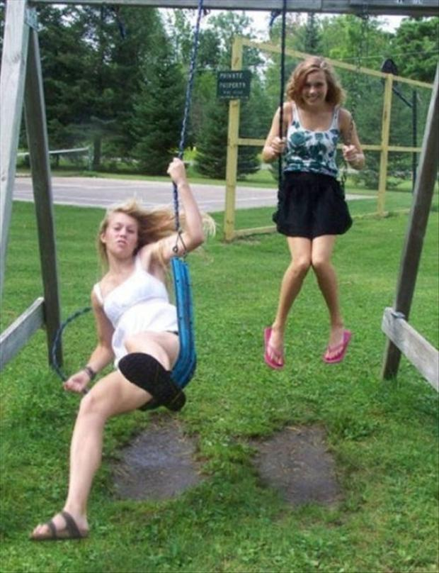 perfectly timed pictures, swing set broke